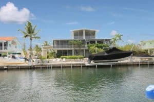 Waterfront home with boat lift